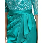 TS Couture Cocktail Party / Wedding Party Dress - Jade Plus Sizes / Petite Sheath/Column Scoop Short/Mini Lace / Stretch Satin Special Occasion Dresses