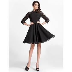 Cocktail Party Dress - Black Plus Sizes / Petite A-line / Princess High Neck Knee-length Chiffon / Lace