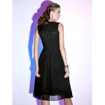 TS Couture Cocktail Party / Holiday Dress - Black Plus Sizes / Petite A-line / Princess V-neck Knee-length Chiffon Special Occasion Dresses