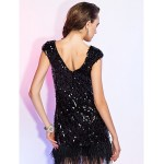 TS Couture Cocktail Party / Holiday / Wedding Party Dress - Black Plus Sizes / Petite Sheath/Column V-neck Short/Mini Sequined Special Occasion Dresses