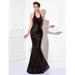 Prom Formal Evening Black Tie Gala Dress Black Plus Sizes Petite Sheath Column Halter Floor Length Sequined