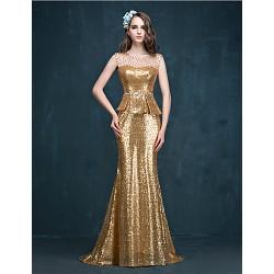 Formal Evening Dress Gold Trumpet Mermaid Jewel Sweep Brush Train Sequined