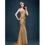 Formal Evening Dress - Gold Trumpet/Mermaid Jewel Sweep/Brush Train Sequined Special Occasion Dresses