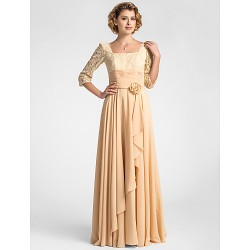 A-line Plus Sizes / Petite Mother of the Bride Dress - Champagne Floor-length Half Sleeve Lace / Chiffon