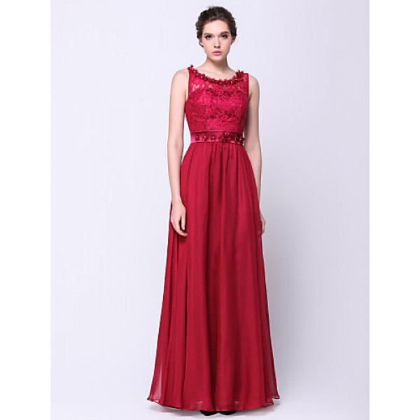 Formal Evening Dress - Burgundy A-line Scoop Floor-length Chiffon / Lace Special Occasion Dresses