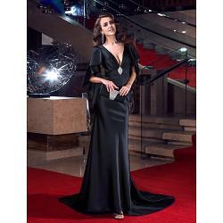 Formal Evening Dress Black Plus Sizes Petite Trumpet Mermaid V Neck Sweep Brush Train Stretch Satin