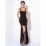 TS Couture Cocktail Party / Prom Dress - Black Plus Sizes / Petite Sheath/Column Straps Tea-length Chiffon / Stretch Satin Celebrity Dresses
