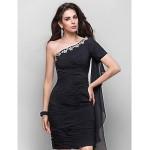 TS Couture Cocktail Party Dress - Black Plus Sizes / Petite Sheath/Column One Shoulder Knee-length Chiffon Special Occasion Dresses