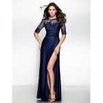 Trumpet/Mermaid Mother of the Bride Dress - Dark Navy Floor-length Half Sleeve Jersey Mother Of The Bride Dresses