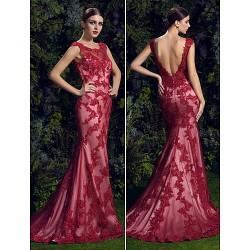 Formal Evening Dress Ruby Trumpet Mermaid Scoop Court Train Lace