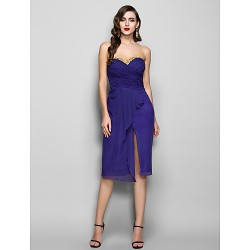 Cocktail Party / Holiday Dress - Regency Plus Sizes / Petite Sheath/Column Sweetheart Knee-length Chiffon