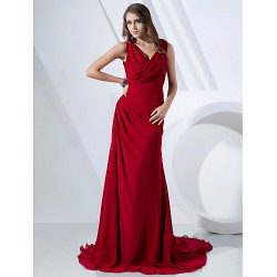 Formal Evening Dress - Ruby Plus Sizes / Petite Sheath/Column V-neck / Cowl Sweep/Brush Train Chiffon