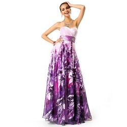 Formal Evening Prom Military Ball Dress Print Plus Sizes Petite A Line Princess Strapless Sweetheart Floor Length Chiffon