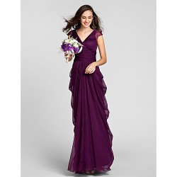 Floor Length Chiffon Bridesmaid Dress Grape Plus Sizes Petite Sheath Column V Neck