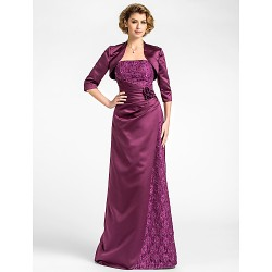 Sheath Column Plus Sizes Petite Mother Of The Bride Dress Grape Floor Length 3 4 Length Sleeve Lace Satin