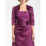 Sheath/Column Plus Sizes / Petite Mother of the Bride Dress - Grape Floor-length 3/4 Length Sleeve Lace / Satin Mother Of The Bride Dresses