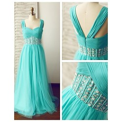 Formal Evening Dress Jade A Line Straps Floor Length Chiffon Tulle