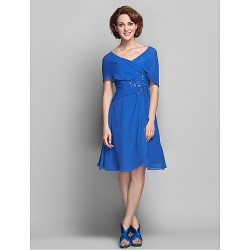 A-line Plus Sizes / Petite Mother of the Bride Dress - Royal Blue Knee-length Short Sleeve Chiffon