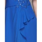A-line Plus Sizes / Petite Mother of the Bride Dress - Royal Blue Knee-length Short Sleeve Chiffon Mother Of The Bride Dresses