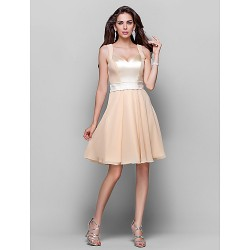 Wedding Party Cocktail Party Dress Champagne Plus Sizes Petite A Line Princess Sweetheart Straps Knee Length