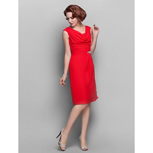 Sheath Column Plus Sizes Petite Mother Of The Bride Dress Ruby Knee Length Sleeveless Chiffon
