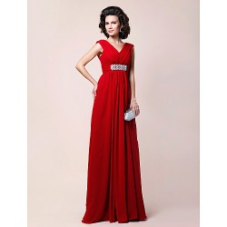 A Line Plus Sizes Petite Mother Of The Bride Dress Ruby Floor Length Sleeveless Chiffon