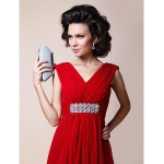 A-line Plus Sizes / Petite Mother of the Bride Dress - Ruby Floor-length Sleeveless Chiffon Mother Of The Bride Dresses