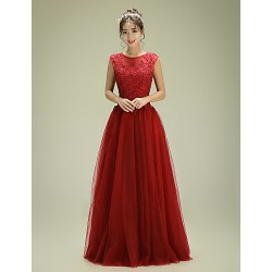 Formal Evening Dress - Burgundy A-line Jewel Floor-length Tulle
