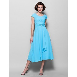 A Line Plus Sizes Petite Mother of the Bride Dress Pool Tea Length Short Sleeve Chiffon