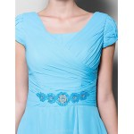 A-line Plus Sizes / Petite Mother of the Bride Dress - Pool Tea-length Short Sleeve Chiffon Mother Of The Bride Dresses