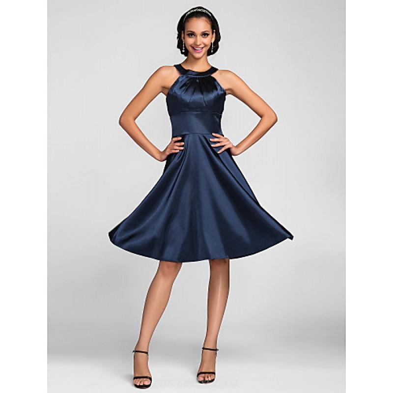 Knee-length Stretch Satin Bridesmaid Dress