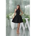 Cocktail Party Dress - Black Petite A-line Halter Knee-length / Court Train Satin Special Occasion Dresses