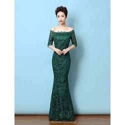 Formal Evening Dress - Dark Green Trumpet/Mermaid Off-the-shoulder Floor-length Lace