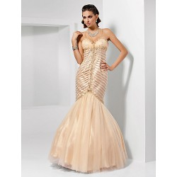 Trumpet Mermaid Spaghetti Straps Sweetheart Floor Length Tulle Evening Prom Dress
