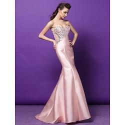Formal Evening Dress Pearl Pink Plus Sizes Petite Trumpet Mermaid Sweetheart Sweep Brush Train Satin