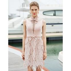 Cocktail Party Dress - Pearl Pink Sheath/Column High Neck Short/Mini Satin