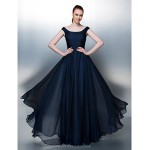 TS Couture / Formal Evening / Holiday Dress - Dark Navy Plus Sizes / Petite A-line / Princess Scoop Floor-length Chiffon Special Occasion Dresses