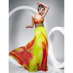 Prom Military Ball Formal Evening Dress Print Plus Sizes Petite Sheath Column Straps Floor Length Chiffon