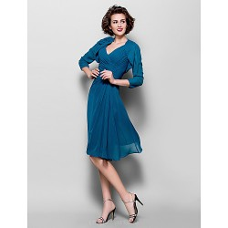A Line Plus Sizes Petite Mother Of The Bride Dress Ink Blue Knee Length 3 4 Length Sleeve Chiffon