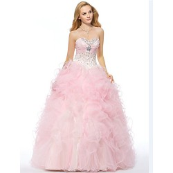 Formal Evening Dress Candy Pink Plus Sizes Petite A Line Sweetheart Floor Length Organza