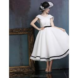 Dress White Ball Gown V Neck Tea Length Lace Spandex