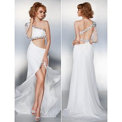 Prom / Formal Evening Dress - Ivory Plus Sizes / Petite A-line One Shoulder Sweep/Brush Train Chiffon