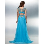 Formal Evening Dress - Pool Plus Sizes / Petite A-line Jewel Sweep/Brush Train Chiffon Special Occasion Dresses