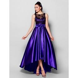 Formal Evening Dress Regency Plus Sizes Petite A Line Bateau Asymmetrical Stretch Satin