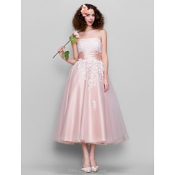 Dress Pearl Pink Plus Sizes Petite A Line Strapless Ankle Length Tulle Stretch Satin
