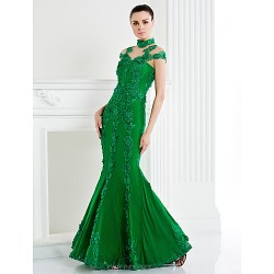 Formal Evening Dress Dark Navy Trumpet Mermaid High Neck Sweep Brush Train Lace