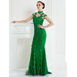 TS Couture Formal Evening Dress - Dark Navy Trumpet/Mermaid High Neck Sweep/Brush Train Lace Special Occasion Dresses