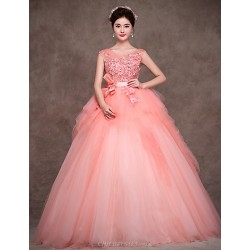 Formal Evening Dress Pearl Pink Petite Ball Gown Jewel Floor Length Satin Tulle Polyester