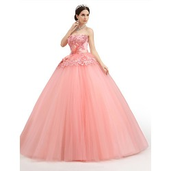 Formal Evening Dress Watermelon Petite Ball Gown Strapless Floor Length Lace Organza Tulle Charmeuse