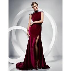Formal Evening Dress - Burgundy Plus Sizes / Petite Trumpet/Mermaid High Neck Sweep/Brush Train Velvet